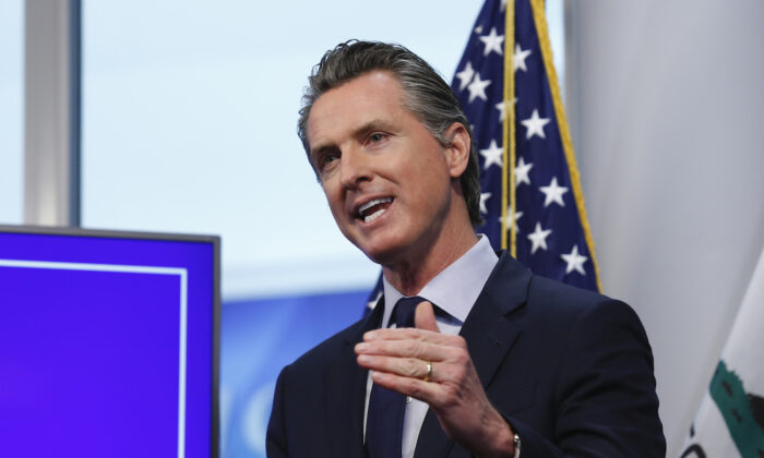 California Gov. Gavin Newsom during a news conference in Rancho Cordova, Calif. on April 14, 2020. (Rich Pedroncelli/AP Photo)