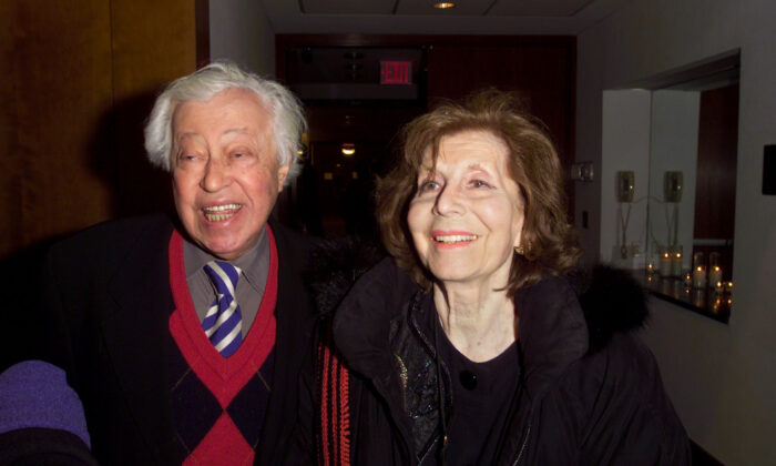 Adolf Green and Betty Comden at Lincoln Center in New York City on Jan. 14, 2001. (Gabe Palacio/ImageDirect/Getty Images)
