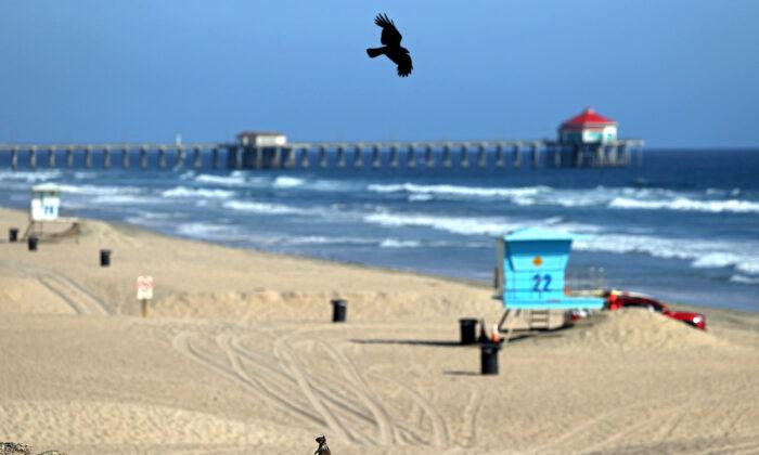 The Huntington Beach Pier in Huntington Beach, California, on May 3, 2020. (Michael Heiman/Getty Images)