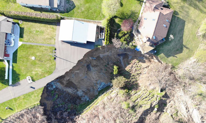 A landslide left a dozen people displaced after their homes came dangerously close to being destroyed. (Courtesy Saratoga County Office of Emergency Services)