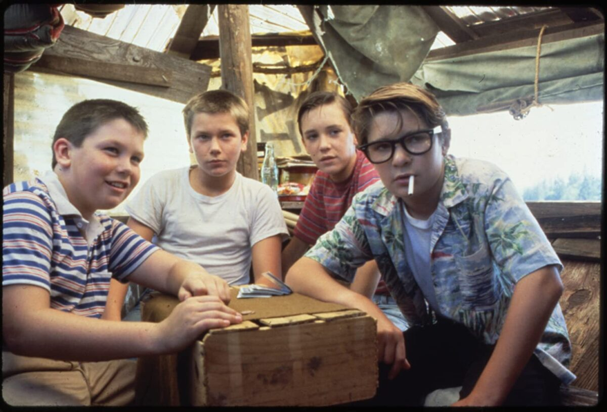 """four boy in a tree house in """"Stand By Me"""""""
