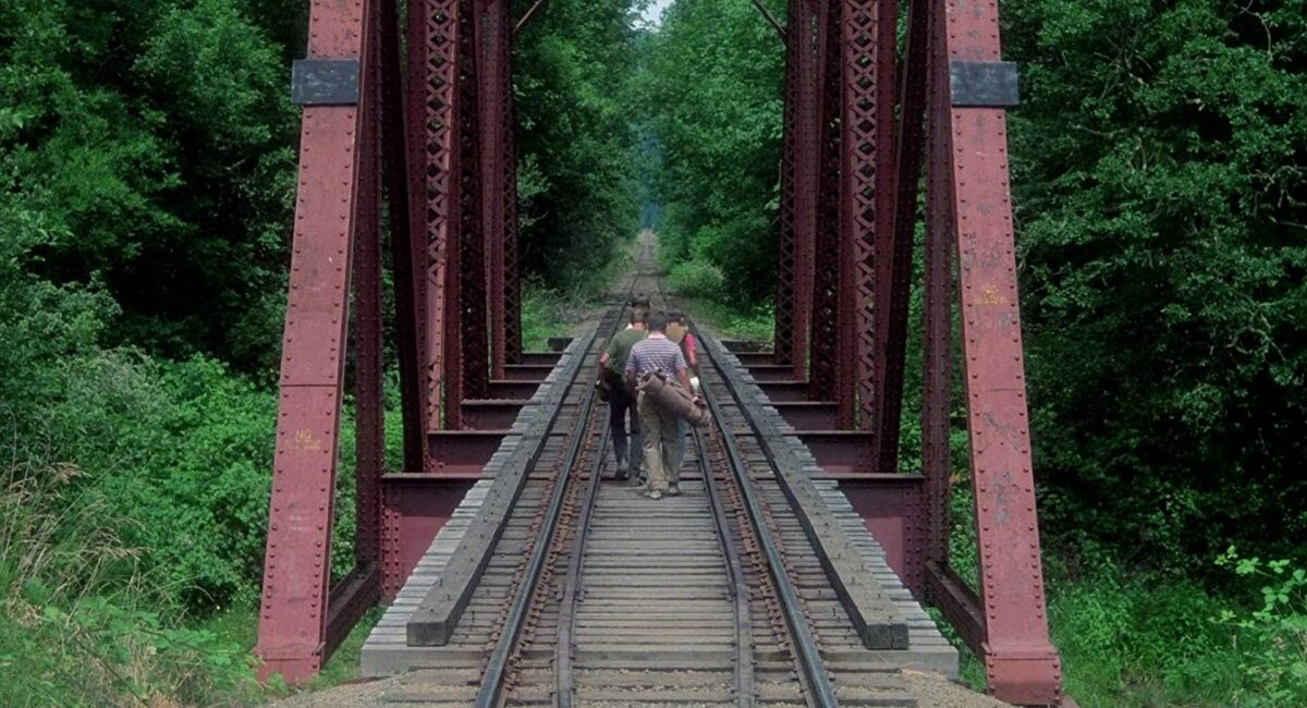 """four boys walking on railroad tracks in """"Stand By Me"""""""