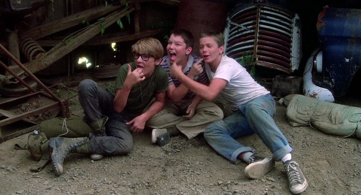 """3 boys goofing off in """"Stand By Me."""""""
