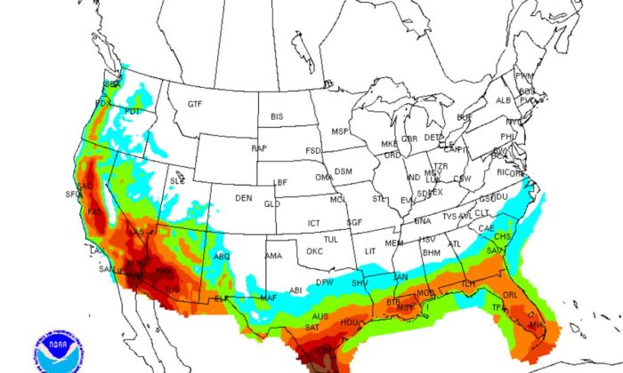 A map shows the heat index for the U.S. on May 8 (NWS)