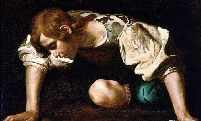 "A detail from ""Narcissus"" 1598–1599, by Caravaggio. Oil on Canvas; 43.3 inches by 36.2 inches. National Gallery of Ancient Art, Rome. (Public Domain)"