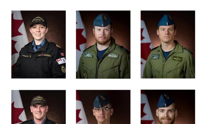 Canadian Armed Forces members (clockwise from top left) Sub-Lt. Abbigail Cowbrough, Capt. Brenden MacDonald, Capt. Kevin Hagen, Capt. Maxime Miron-Morin, Master Cpl. Matthew Cousins and Sub-Lt. Matthew Pyke are shown in a Department of National Defence handout photos. All were aboard a Cyclone helicopter which crashed into the Ionian Sea off the coast of Greece on April 29. (THE CANADIAN PRESS/HO-Department of National Defence)