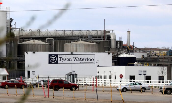 A Tyson Foods pork processing plant, temporarily closed due to an outbreak of the CCP virus (COVID-19), is seen in Waterloo, Iowa on April 29, 2020. (Brenna Norman/Reuters)