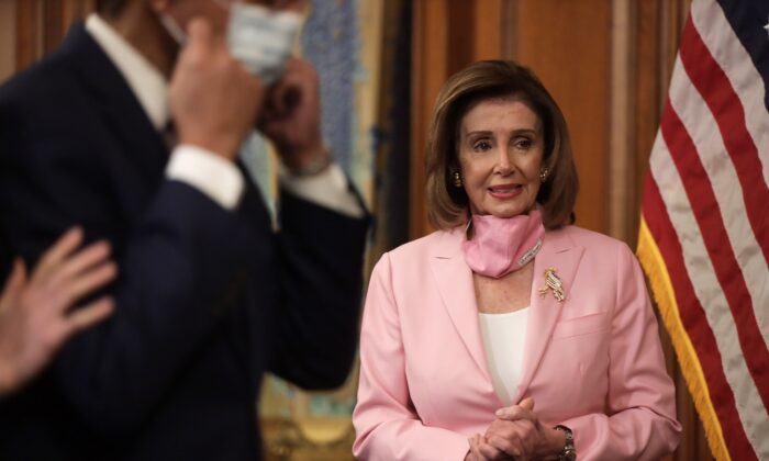 House Speaker Nancy Pelosi (D-Calif.) in Washington on May 5, 2020. (Alex Wong/Getty Images)
