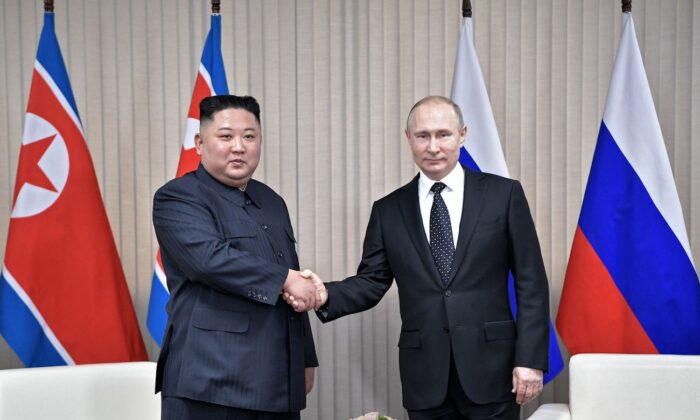 Russian President Vladimir Putin meets with North Korean leader Kim Jong Un at the Far Eastern Federal University campus on Russky island in the Russian port of Vladivostok on April 25, 2019. (Alexey Nikolsky/ AFP via Getty Images)