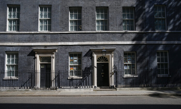 General view of 10 Downing Street in London, England on May 6, 2020. (Hollie Adams/Getty Images)