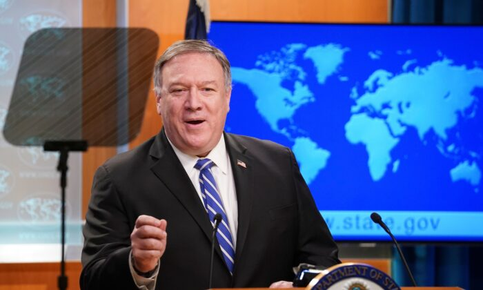 US Secretary of State Mike Pompeo speaks to reporters during a media briefing at the State Department in Washington, DC, May 6, 2020. (Kevin Lamarque/POOL/AFP via Getty Images)