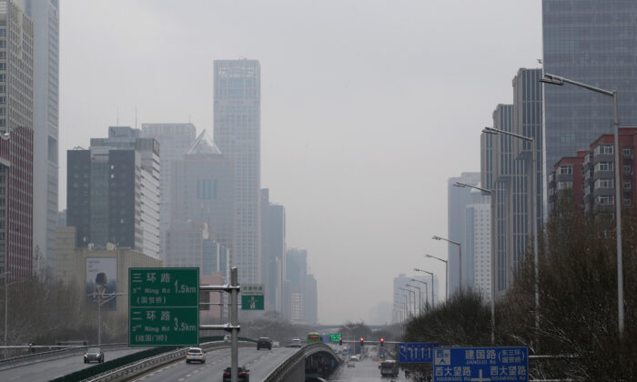 A general view of Jianguo Road in Beijing, China on Feb. 2, 2020. (Jason Lee/Reuters)