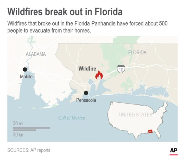 Map-wildfire in Florida