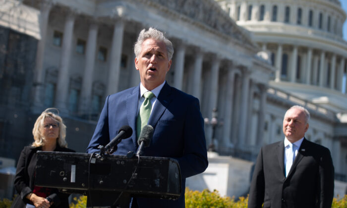 House Minority Leader Kevin McCarthy (R-Calif.) speaks at a press conference in Washington on April 22, 2020. (Saul Loeb/AFP via Getty Images)