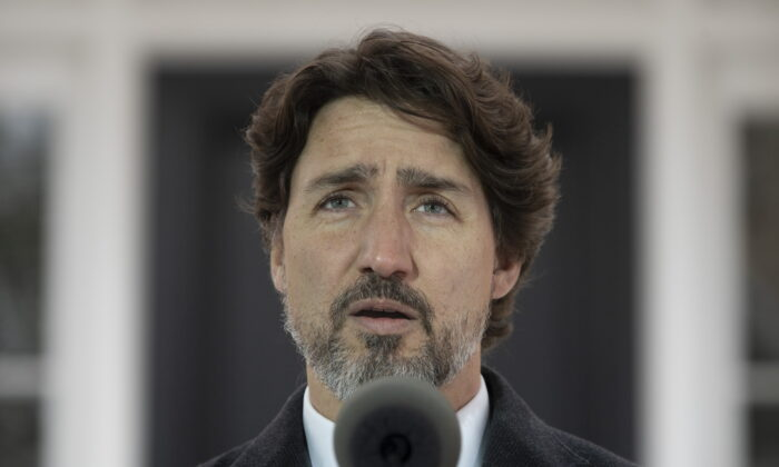 Prime Minister Justin Trudeau speaks during a daily briefing outside Rideau Cottage in Ottawa, Canada, on May 8, 2020.  (Adrian Wyld/The Canadian Press)