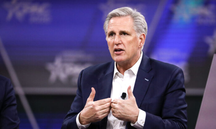 House Minority Leader Kevin McCarthy (R-Calif.) speaks at the CPAC convention in National Harbor, Md., on Feb. 28, 2020. (Samira Bouaou/The Epoch Times)