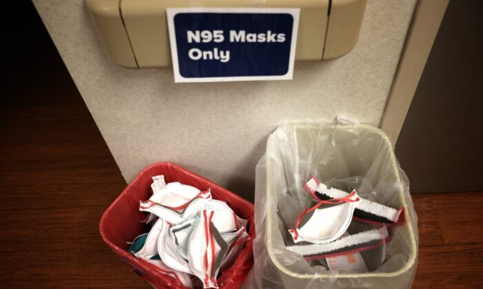 Previously worn N95 protective masks, saved for possible recycling in the future, sit in baskets in the Intensive Care Unit of MedStar St. Mary's Hospital April 8, 2020 in Leonardtown, Maryland. (Win McNamee/Getty Images)