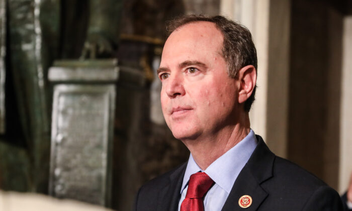 Rep. Adam Schiff (D-Calif.) walks through Statuary Hall to the House Chamber for President Donald Trump's State of the Union address in the Capitol in Washington on Feb. 4, 2020. (Charlotte Cuthbertson/The Epoch Times)