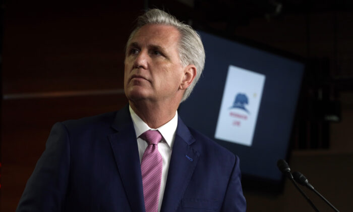 U.S. House Minority Leader Rep. Kevin McCarthy (R-CA) listens during a weekly news conference at the U.S. Capitol in Washington, on May 7, 2020. (Alex Wong/Getty Images)