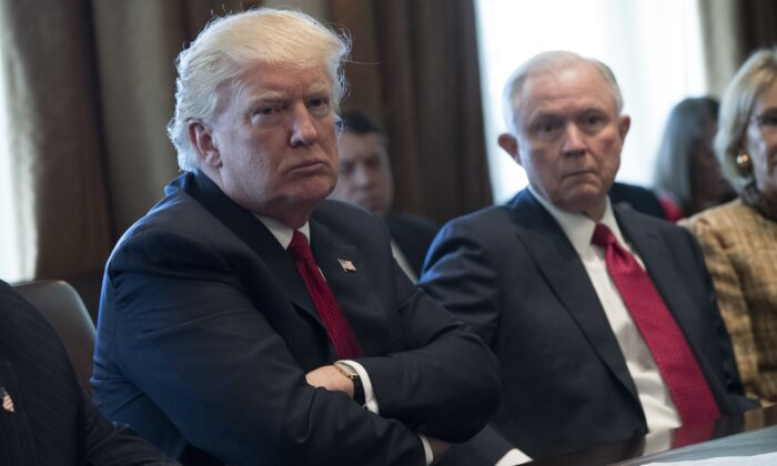 President Donald Trump, left and Attorney General Jeff Sessions attend a panel discussion on an opioid and drug abuse in the Roosevelt Room of the White House in Washington on March 29, 2017. (Shawn Thew-Pool/Getty Images)