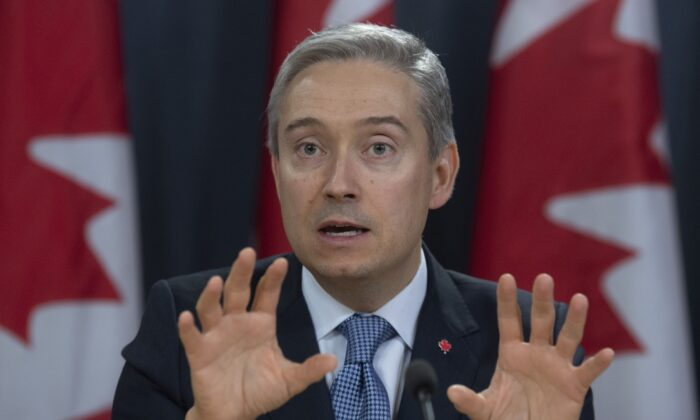 Foreign Affairs Minister Francois-Philippe Champagne responds to a question during a news conference in Ottawa on March 9, 2020. (The Canadian Press/Adrian Wyld)