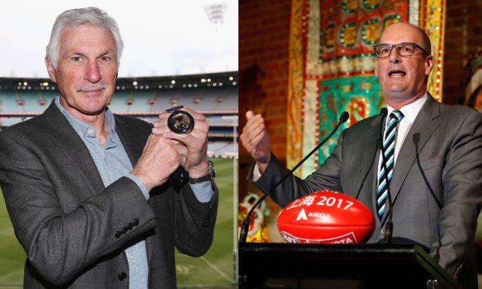 (L) Mick Malthouse with Jock Hale medal at Melbourne Cricket Ground on Sep. 4, 2017.  (Michael Dodge/Getty). (R) David Koch at the Chinese Museum in Melbourne on Oct. 26, 2016. (Michael Willson/AFL Media/Getty Images)