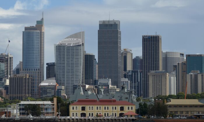 Residential and commercial properties are seen from Sydney Harbour in Sydney on April 4, 2017. (Peter Parks/Getty Images)