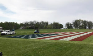 Man Paints Giant American Flag on an Indiana Field to Honor Front Line Heroes Amid Pandemic