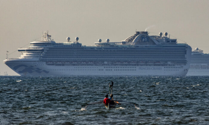 The cruise ship Ruby Princess floats in the waters of Manila Bay, Philippines on May 7, 2020. (Ezra Acayan/Getty Images)