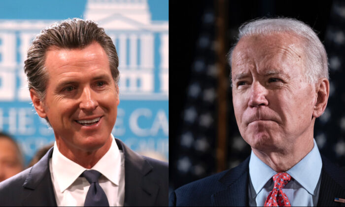 L: California Gov. Gavin Newsom speaks during a news conference at the California State Capitol in Sacramento, California on Aug. 16, 2019. (Justin Sullivan/Getty Images) R: President Joe Biden delivers remarks about the CCP virus at the Hotel Du Pont in Wilmington, Delaware, on March 12, 2020. (Drew Angerer/Getty Images)