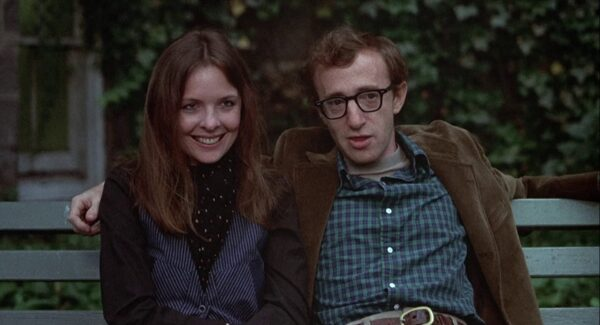 """woman and man on park bench in """"Annie Hall"""""""