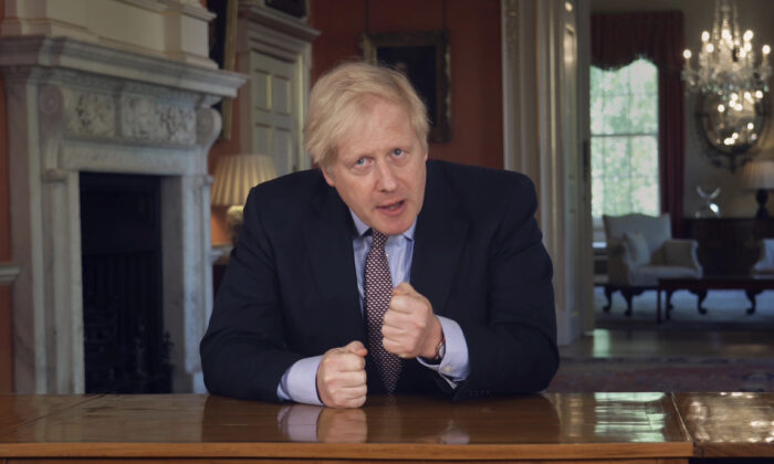 In this grab taken from video issued by Downing Street on Sunday, May 10, 2020, Britain's Prime Minister Boris Johnson delivers an address on lifting the country's lockdown amid the CCP virus pandemic. (Downing Street via AP)