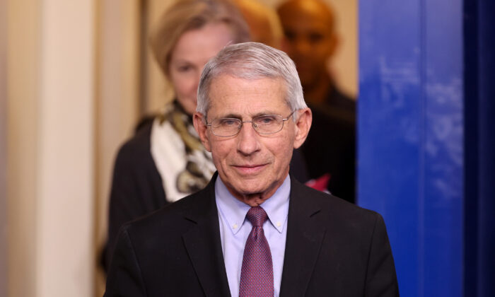 Dr. Anthony Fauci of the National Institutes of Health arrives for the daily CCP virus task force briefing with President Donald Trump at the White House in Washington on April 22, 2020. (Jonathan Ernst/Reuters)