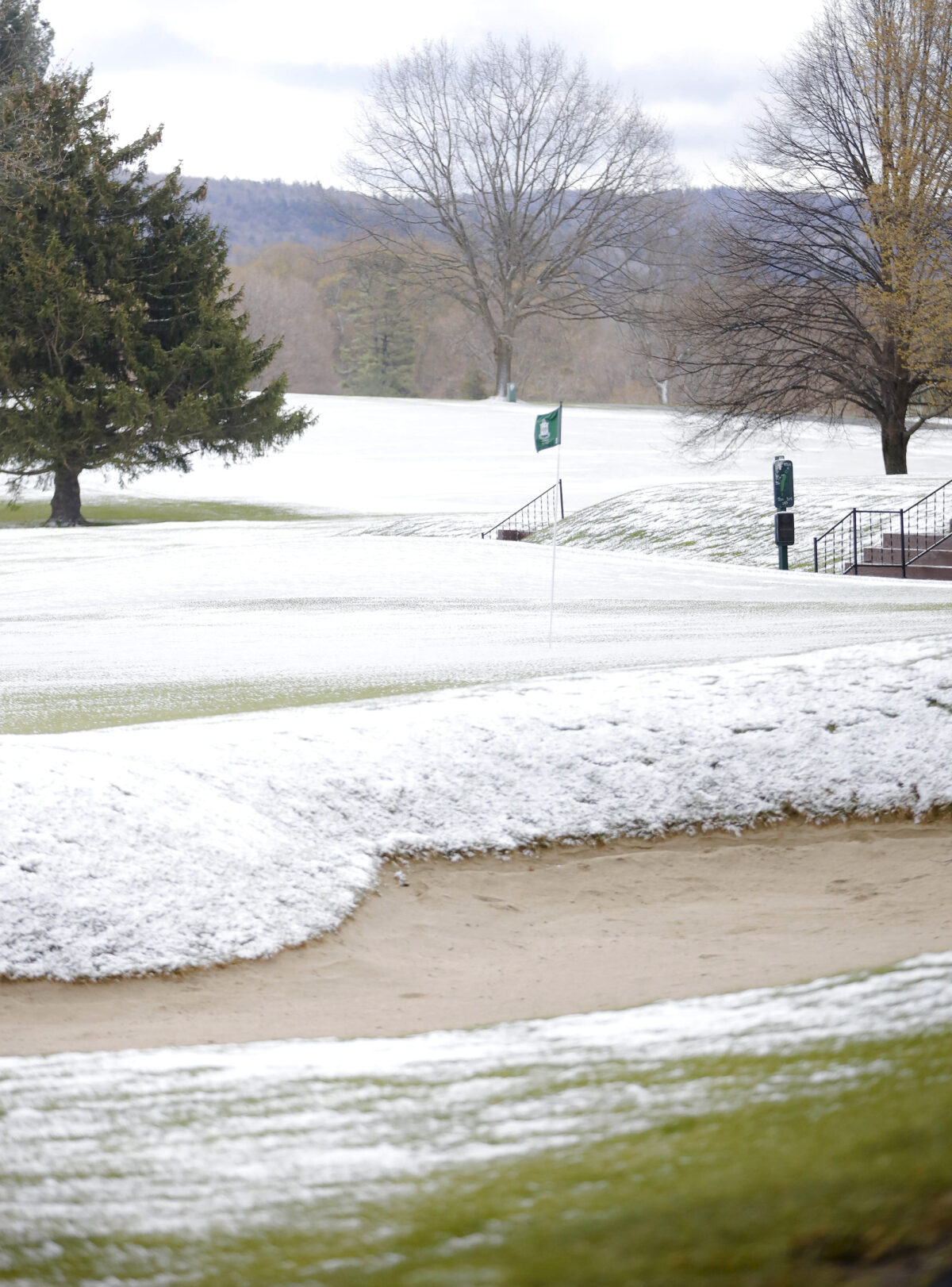 The greens and fairways are covered in snow