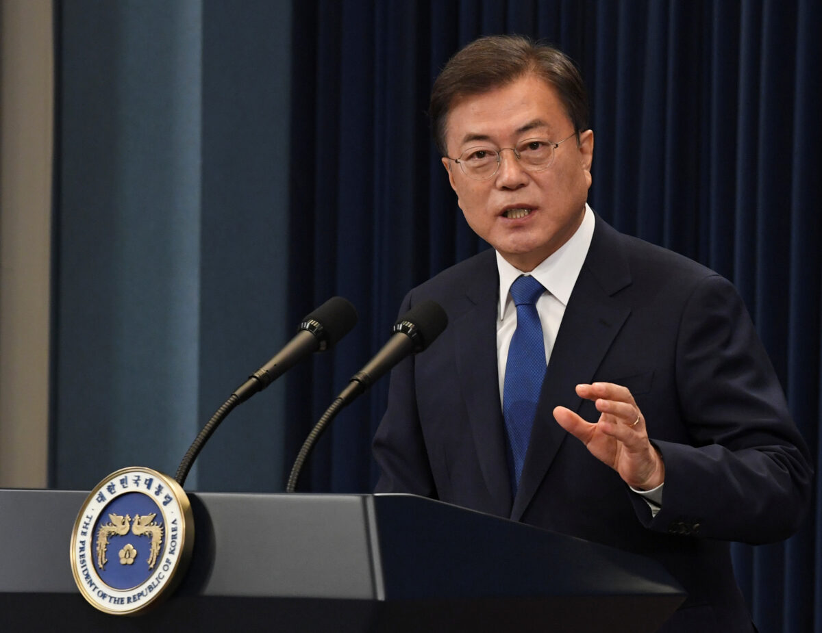 South Korean President Moon Jae-in speaks on the occasion of the third anniversary of his inauguration at the presidential Blue House in Seoul