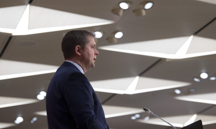 Leader of the Opposition Andrew Scheer speaks during a news conference on Parliament Hill, May 11, 2020 in Ottawa. (Adrian Wyld/The Canadian Press)