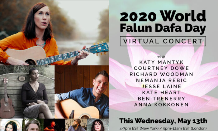 Celebrate World Falun Dafa Day this Wednesday, May 13, from 4–7 p.m. EST with a virtual concert.
