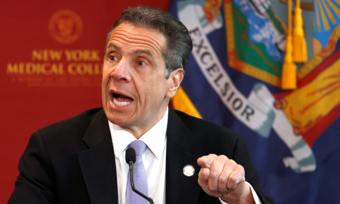 New York Governor Andrew Cuomo holds his daily briefing at New York Medical College during the CCP virus outbreak in Valhalla, N.Y., on May 7, 2020. (Mike Segar/Reuters)