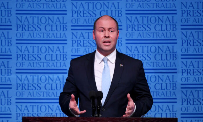 Federal treasurer Josh Frydenberg delivers his budget address at National Press Club in Canberra, Australia, on April 3, 2019. (Tracey Nearmy/Getty Images)