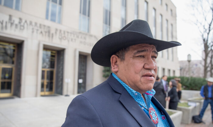 Cheyenne River Sioux Chairman Harold Frazier talks to reporters outside the U.S. District Court for the District of Columbia in Washington on Feb. 28, 2017. (Tasos Katopodis/Getty Images)