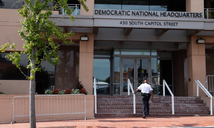The headquarters of the Democratic National Committee (DNC) in Washington on Aug. 22, 2018. (Saul Loeb/AFP via Getty Images)