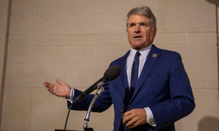 U.S. Rep. Michael McCaul (R-Texas) speaks to the media before a closed session before the House Intelligence, Foreign Affairs and Oversight committees in Washington, on Oct. 15, 2019. (Tasos Katopodis/Getty Images)