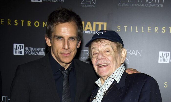 Ben Stiller, left, and his father Jerry Stiller arrive at the Help Haiti benefit honoring Sean Penn hosted by the Stiller Foundation and The J/P Haitian Relief Organization, in New York, on Feb. 11, 2011. (Charles Sykes/AP Photo)