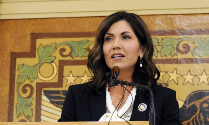 South Dakota Gov. Kristi Noem gives a State of the State address in Pierre, S.D., on Jan. 8, 2019. (James Nord/AP Photo)