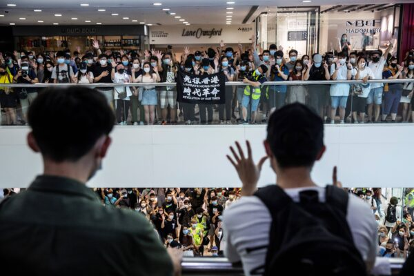 Pro-democracy demonstrators protest calling for the city's independence in Hong Kong on May 10, 2020. (Isaac Lawrence/AFP via Getty Images)