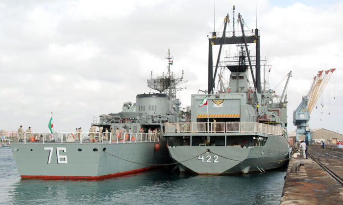 Two Iranian warships dock in the Sudanese Red Sea city of Port Sudan on Dec. 8, 2012. (AFP via Getty Images)