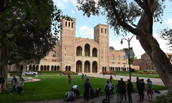 Students participate in an activity near Royce Hall on the campus of University of California at Los Angeles (UCLA) in Los Angeles, Calif., on March 11, 2020. (Robyn Beck/AFP via Getty Images)