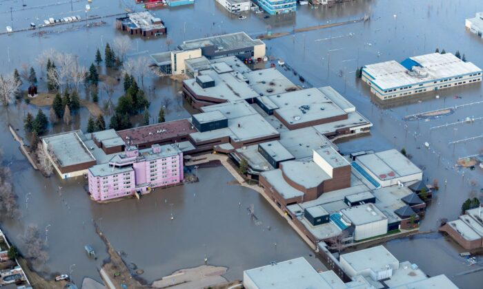 The Keyano College campus in downtown Fort McMurray on April 28, 2020, after a massive ice jam caused flooding and forced about 13,000 people out of their homes. (The Canadian Press/Greg Halinda)