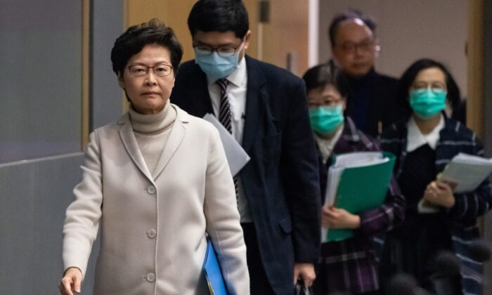 Hong Kong chief executive Carrie Lam arrives at a press conference at the Central Government Complex in Hong Kong on Feb. 3, 2020. (Anthony Kwan/Getty Images)