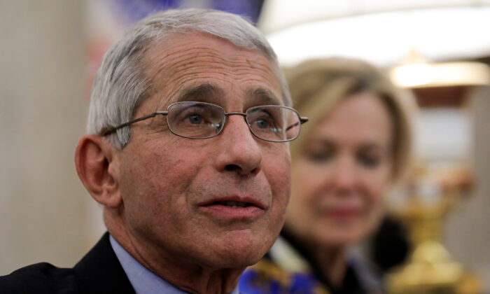 National Institute of Allergy and Infectious Diseases Director Dr. Anthony Fauci speaks during a COVID-19 response meeting at the White House in Washington on April 29, 2020. (Carlos Barria/Reuters)